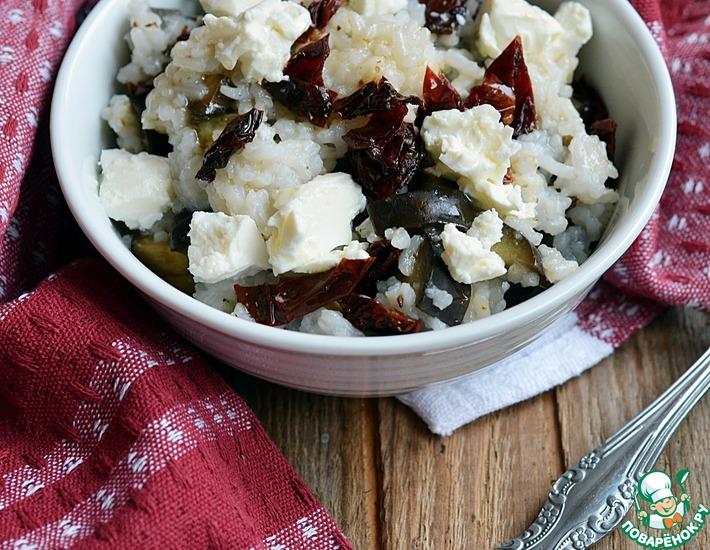 Рецепт: Тёплый рисовый салат с запеченными баклажанами