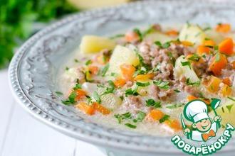 Рецепт: Чизбургер-суп с мясным фаршем и сыром