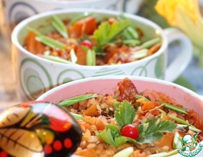 Рецепт: Пряная тыква с рисом и чечевицей
