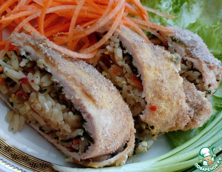 Рецепт: Куриное филе с рисом и овощами