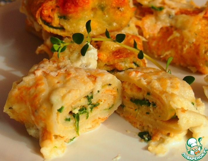 Рецепт: Запеченные блины со шпинатом