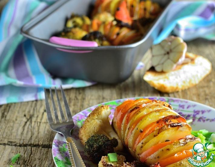 Рецепт: Картофель с брокколи и цветной капустой