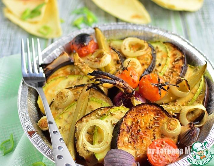 Рецепт: Овощная тарелка, запеченная под грилем