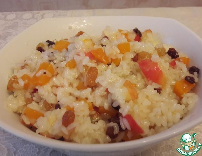 Рецепт: Рис с яблоком, изюмом и тыквой