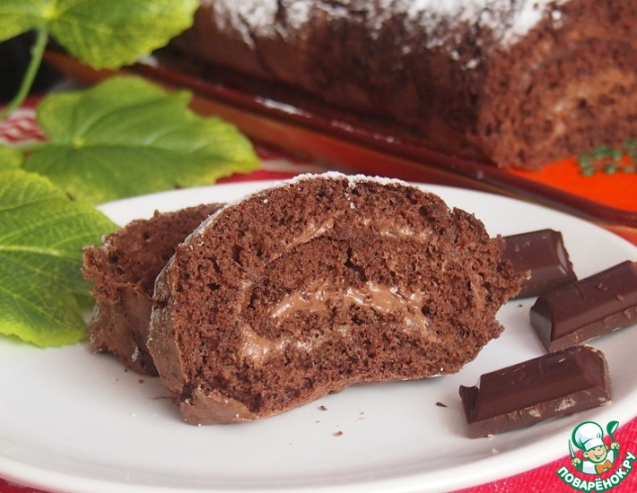 Шоколадный рулет с французским кремом