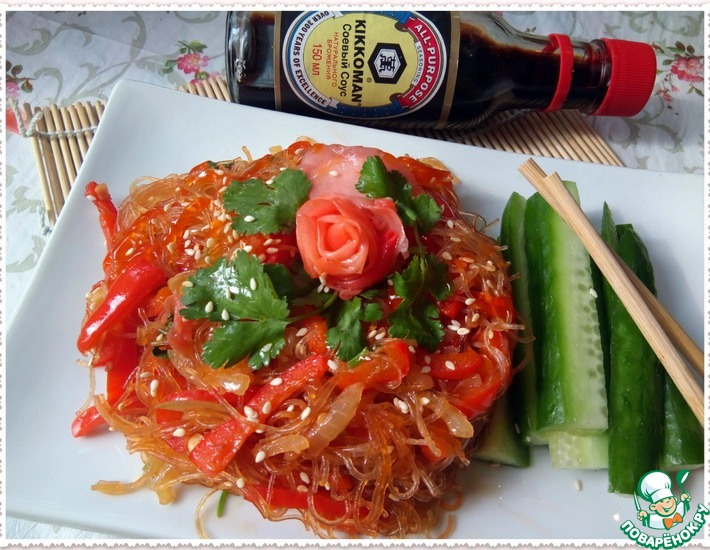 Рецепт: Фунчоза с овощами в азиатском стиле