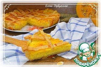 Рецепт: Пирог тыквенно-творожный с яблоком