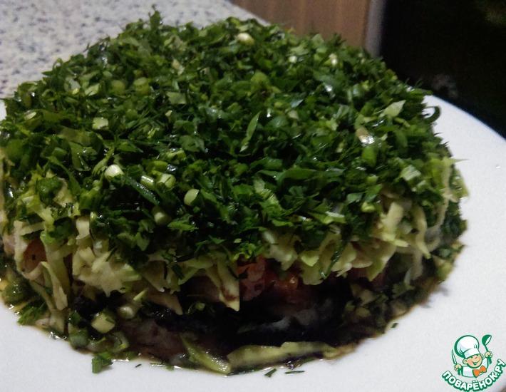 Рецепт: Салат-торт по мотивам японских роллов