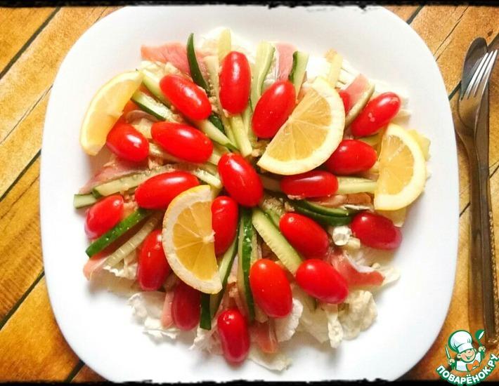 Рецепт: Японский салат с лососем