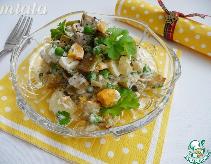 Рецепт: Салат с баклажаном и зеленым горошком