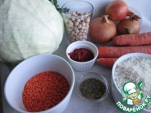 Такое количество продуктов понадобится, если использовать всю капусту. Если капуста будет поменьше, или не все листья брать для приготовления, то и количество продуктов для начинки уменьшится.     На этом фото нут сушёный, но его надо приготовить заранее, лучше всего - за день.