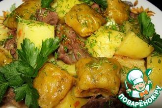 Рецепт: Ароматные подушечки с мясом и картофелем