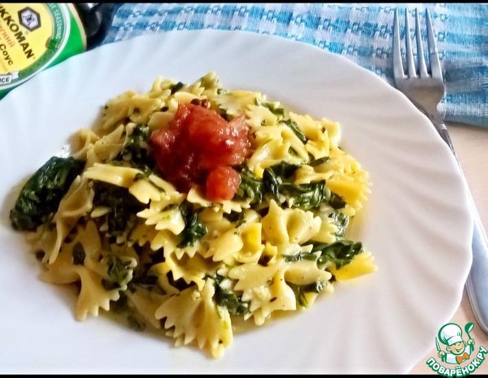 Рецепт: Макароны со шпинатом и жареными помидорами