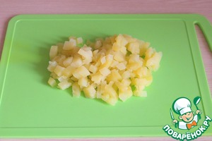 Boil potatoes in salted water, cut in small cubes.