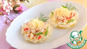Украсить салат свежей зеленью укропа, посыпать зеленым луком.      Приятного аппетита!