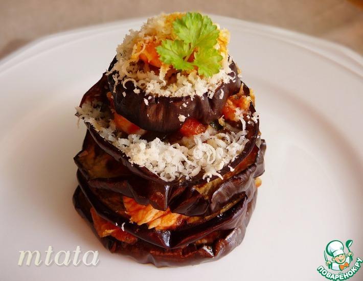 Рецепт: Филе индейки с печеными баклажанами