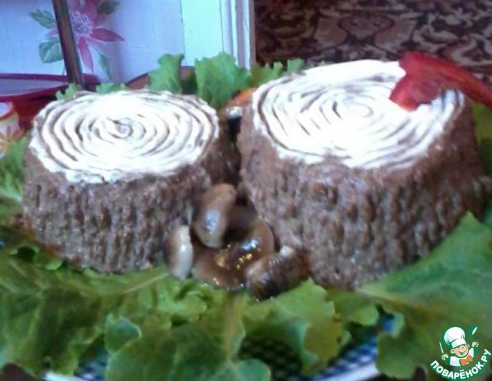 Рецепт: Печеночный паштет Грибочки у пенёчка