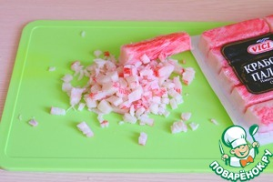 Crab sticks cut into slices.