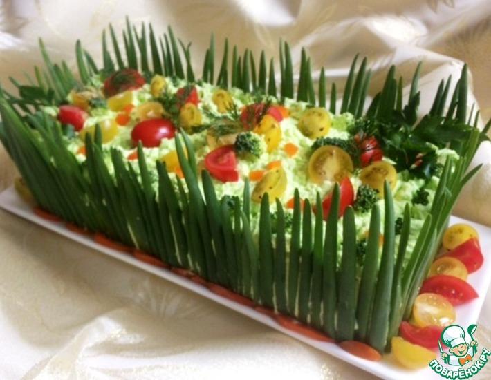 Рецепт: Закусочный торт «Наполеон» с красной рыбой
