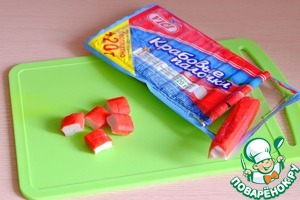 Crab sticks cut into cubes