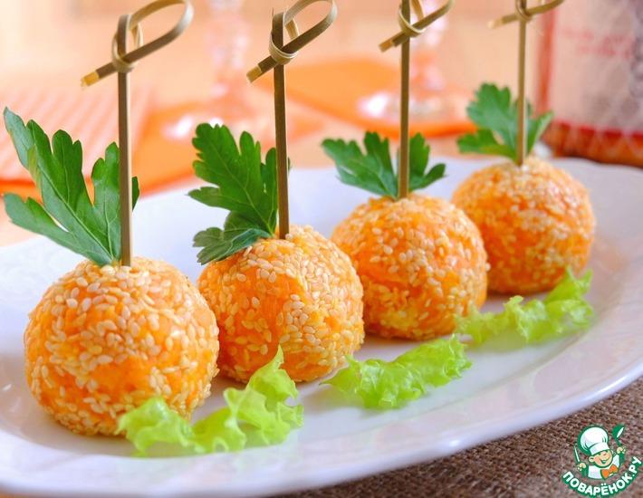 Рецепт: Закуска Сырные шарики с крабовыми палочками
