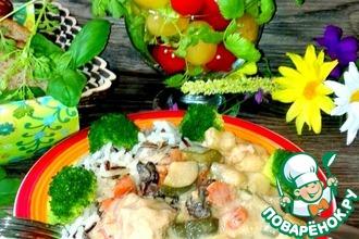 Рецепт: Курица с грибами и овощами