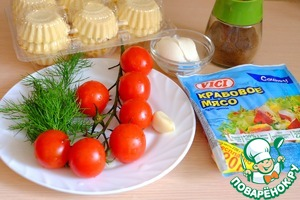 Ingredients for cooking crab tartlets with cheese cream
