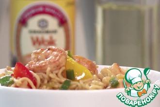 Рецепт: Креветки с яичной лапшой