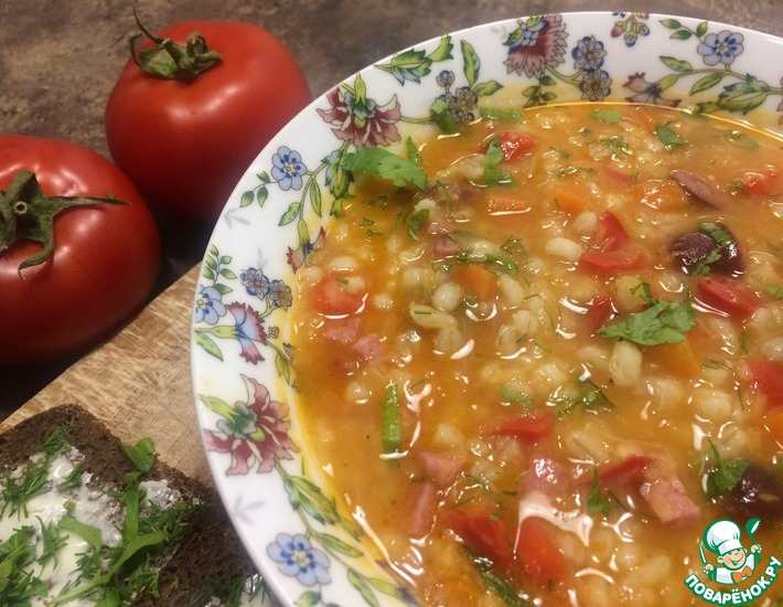 Рецепт: Густой швейцарский суп с перловкой