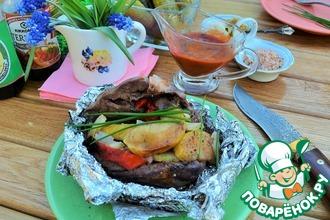 Рецепт: Свиное сердце в углях