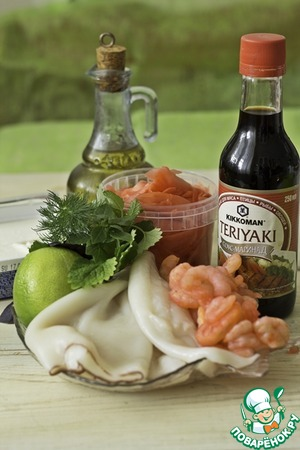 Prepare ingredients for marinade. The basis is a classic Mediterranean marinade. The addition of pickled ginger and teriyaki sauce TM Kikkoman adds a spicy Oriental note and harmonizes perfectly with the rest of the ingredients.