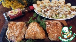 Рыбу я подавала с хрустящим салатом с грушами и сыром с голубой плесенью.