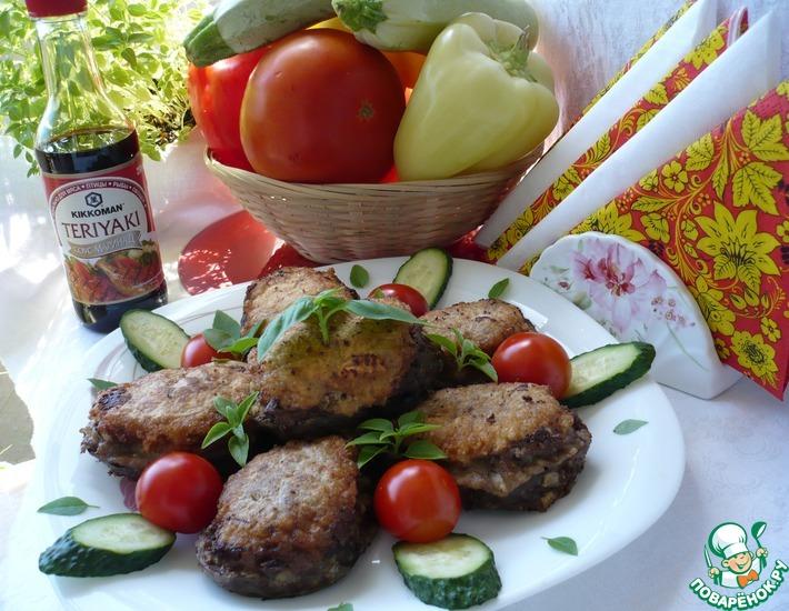 Рецепт: Жареные баклажаны с мясным фаршем
