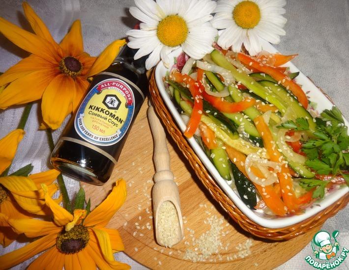 Рецепт: Огурцы по-корейски быстрого приготовления