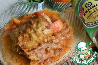 Рецепт: Овощи с минтаем в сметанно-соевом соусе