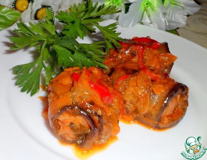 Рецепт: Рулеты из баклажанов с мясом и соусом