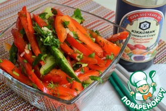 Рецепт: Салат из перца и огурцов Полоски