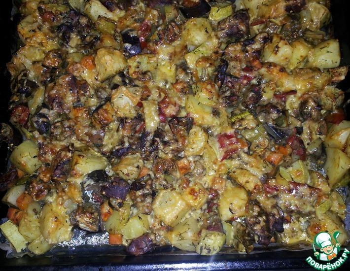 Рецепт: Печеночно-овощное ассорти