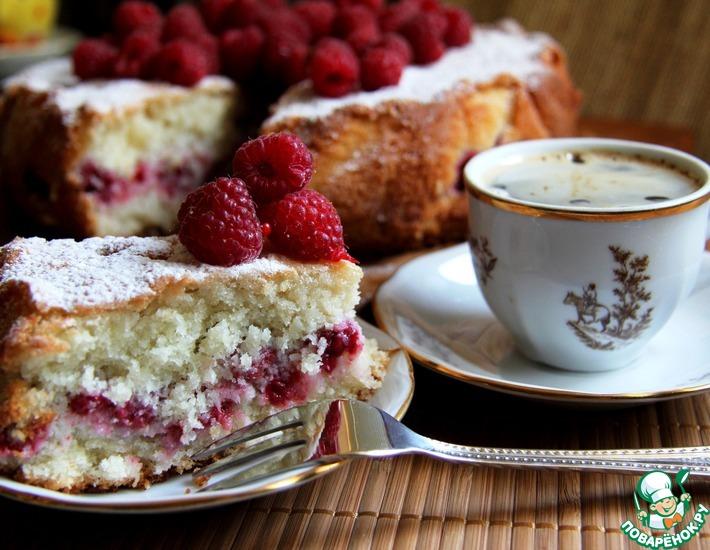 Рецепт: Кокосовый пирог с малиной