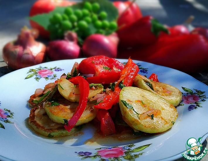 Рецепт: Теплый салат кабачковый