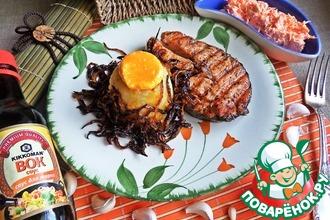 Рецепт: Пюре с карамельным луком к рыбе