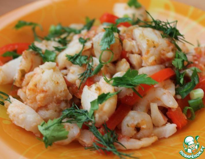Рецепт: Гуляш из рыбы с креветками
