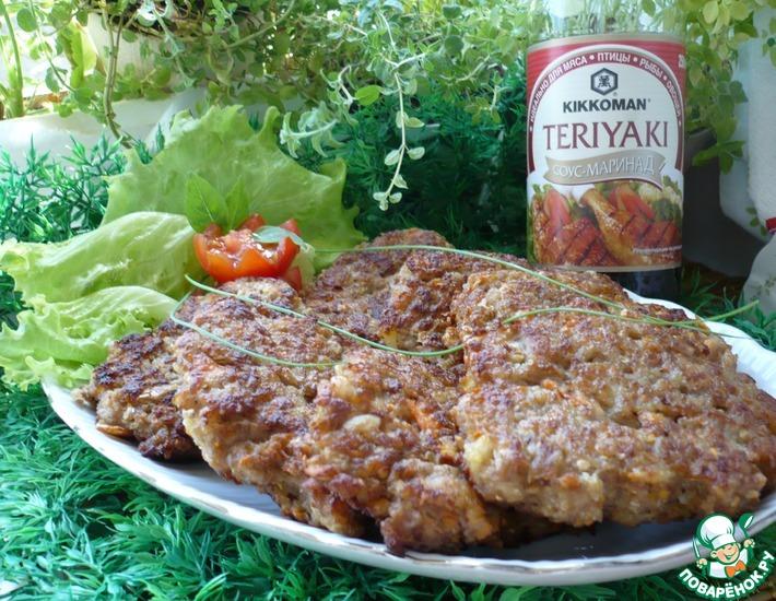 Рецепт: Овощные оладьи с мясным фаршем