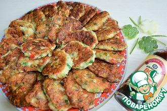 Рецепт: Оладьи из цуккини и курицы Пеструшки