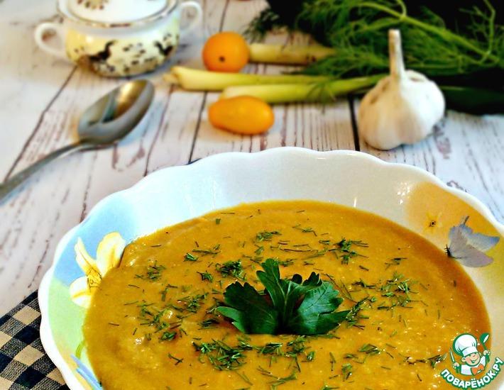 Рецепт: Овощной суп-пюре с чечевицей