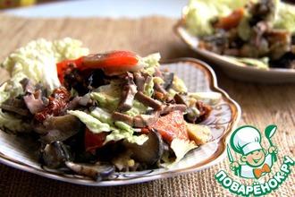 Рецепт: Салат с баклажаном и языком