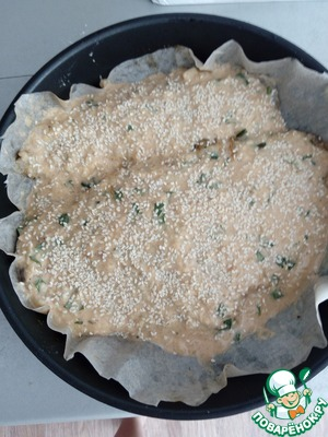 The baking pan setelem parchment, dip the fish thoroughly in batter. Lay the fish on the bottom, top, pour remaining batter and sprinkle with sesame seeds. Bake at 200 degrees for 30 minutes