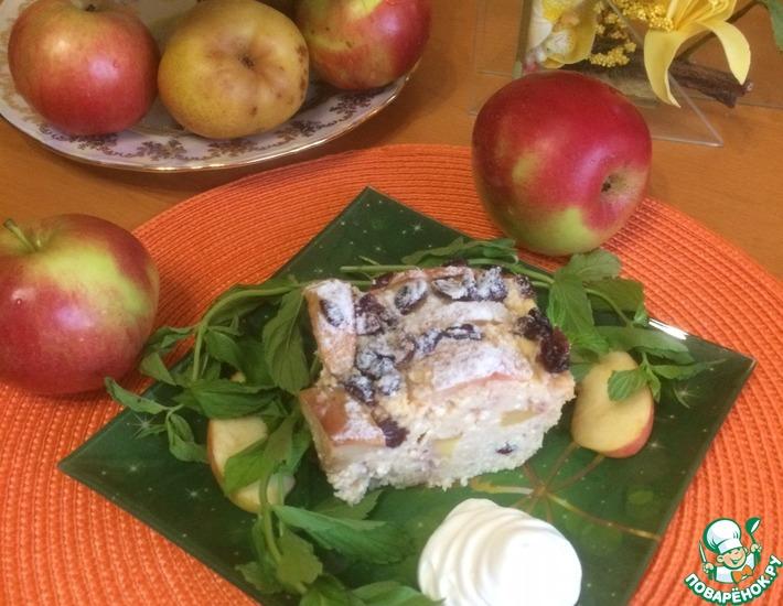 Рецепт: Творожно-яблочная запеканка с вяленой клюквой