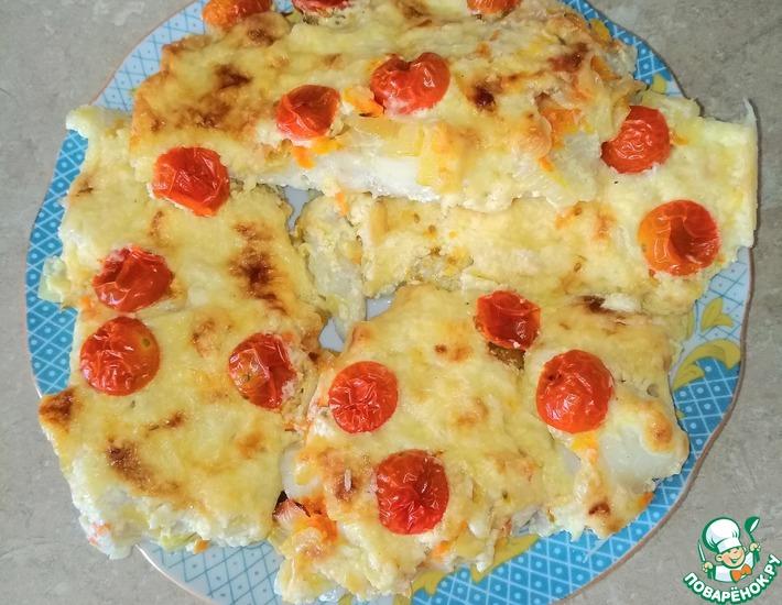 Рецепт: Филе трески с сыром и овощами