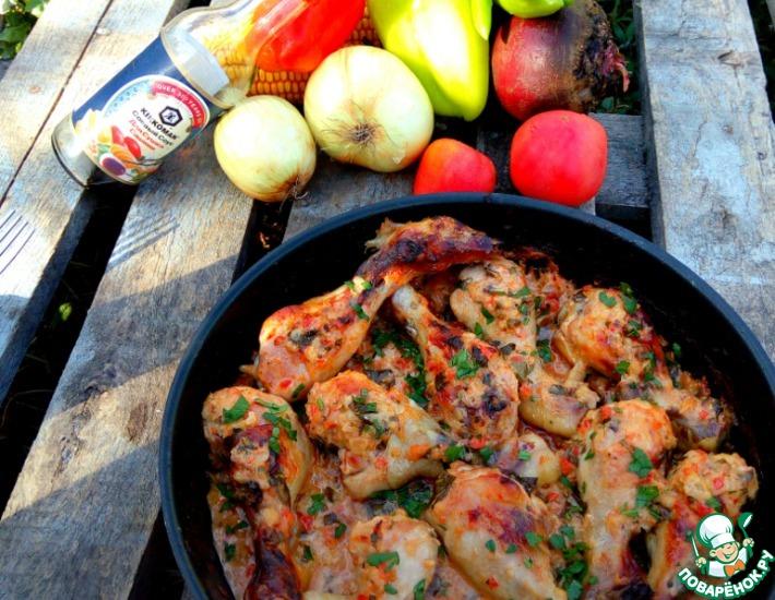 Рецепт: Куриные голени в сметанно-овощном соусе